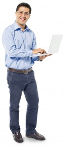 Smart Casual Man Using Laptop